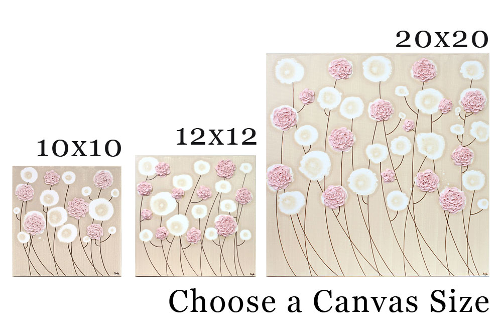 Choose a canvas size for nursery art pink ruffled roses