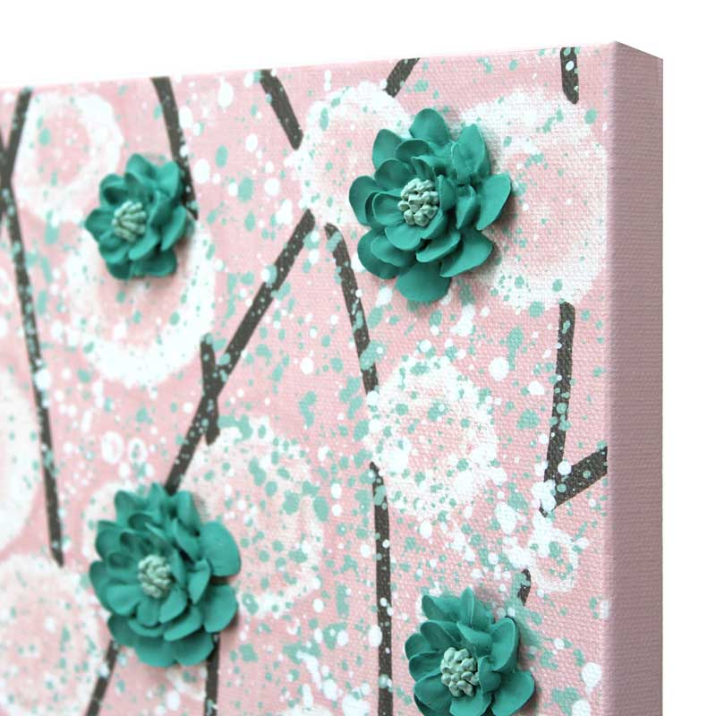 Angle view of nursery art pink and teal blossom tree