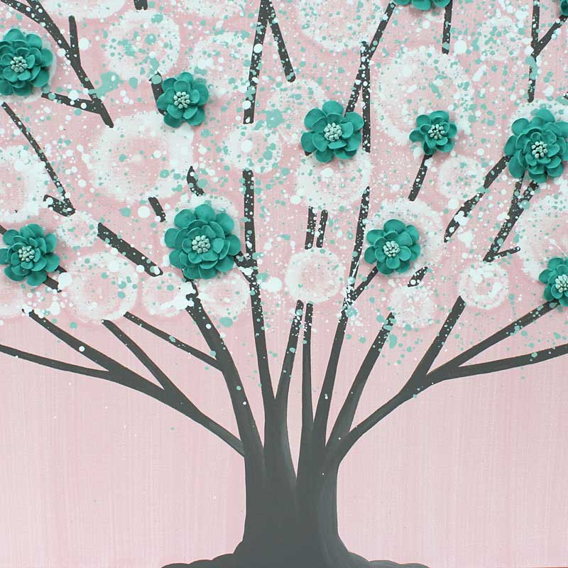 Center view of nursery art pink and teal blossom tree