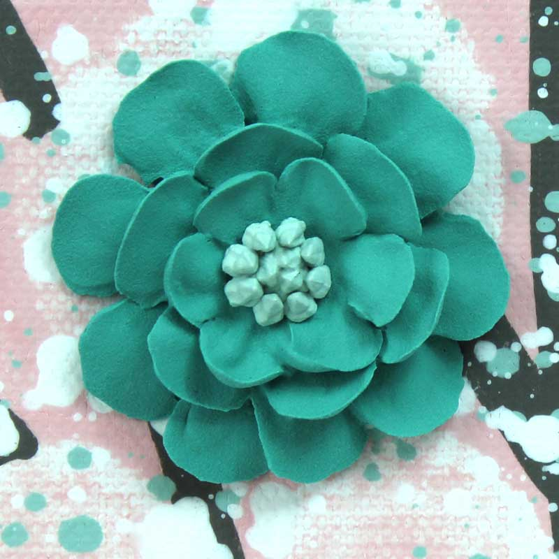 Details of nursery art pink and teal blossom tree