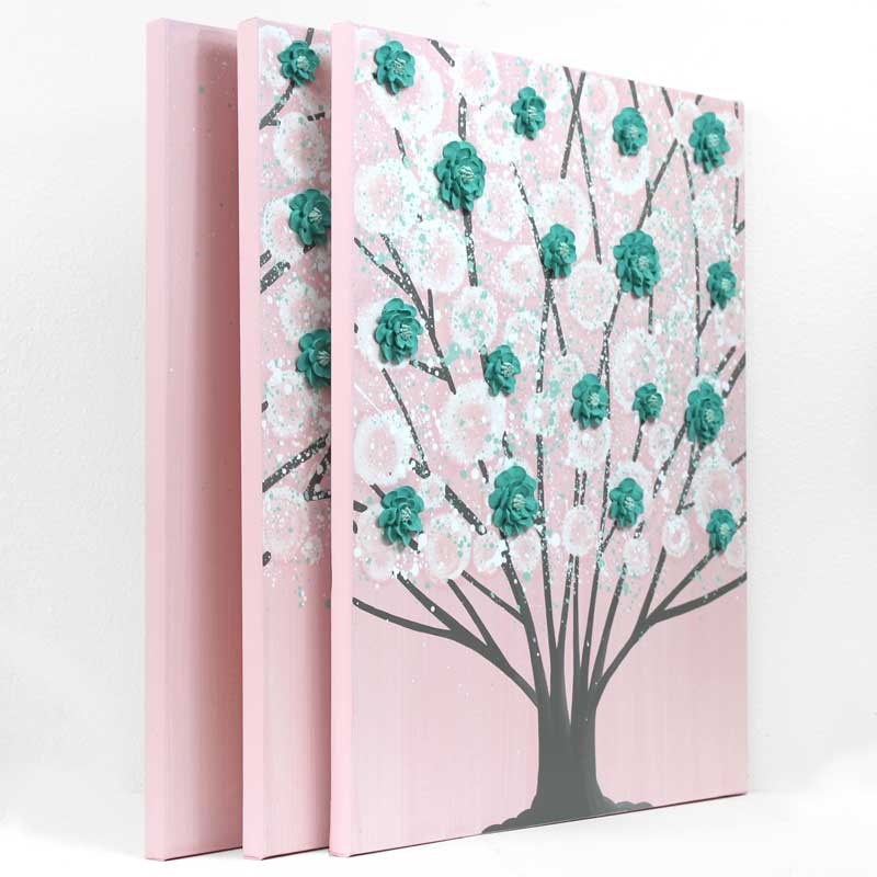 Side view of nursery art pink and teal blossom tree