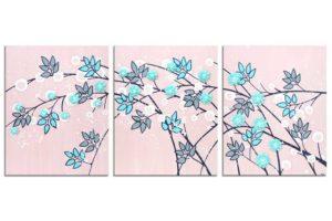 Nursery Art Flower Painting on Canvas in Pink, Aqua, Blue – Large