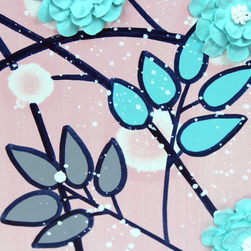 Details on nursery art of pink and aqua climbing flowers