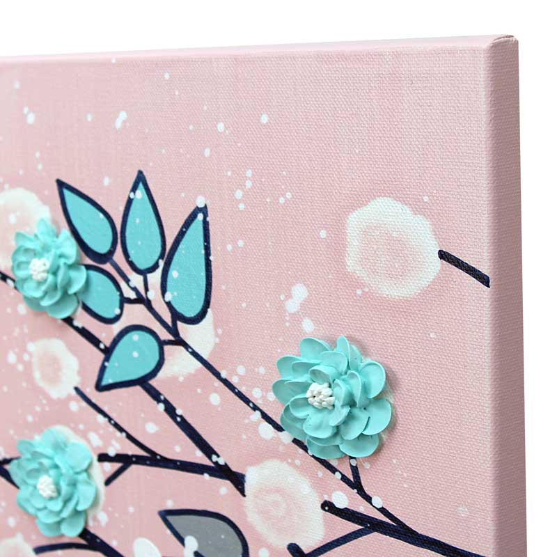 Side view of nursery art of pink and aqua climbing flowers