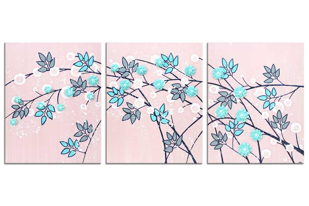 Nursery art of pink and aqua climbing flowers
