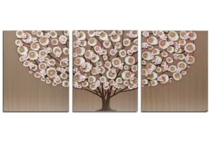 Brown and Pink Wall Art Painting Triptych – Large