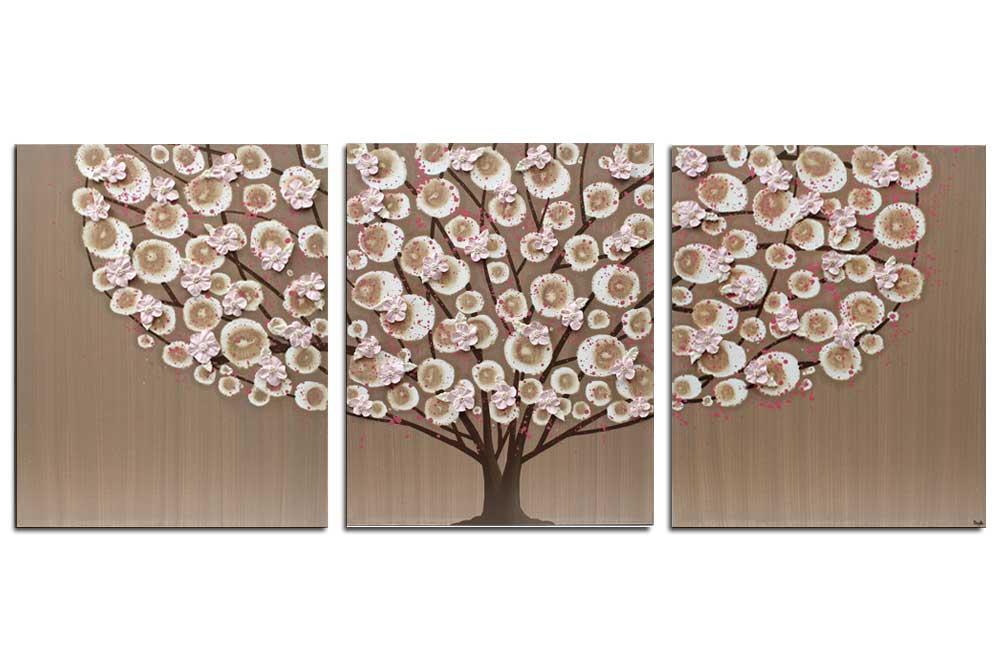 Nursery art brown and pink tree