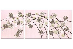 Nursery art of pink and brown climbing flowers