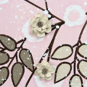 Flower Painting on Canvas for Pink and Brown Nursery – Large