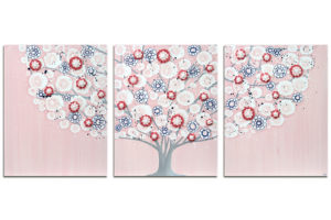 Nursery art pink and indigo spring blossom tree