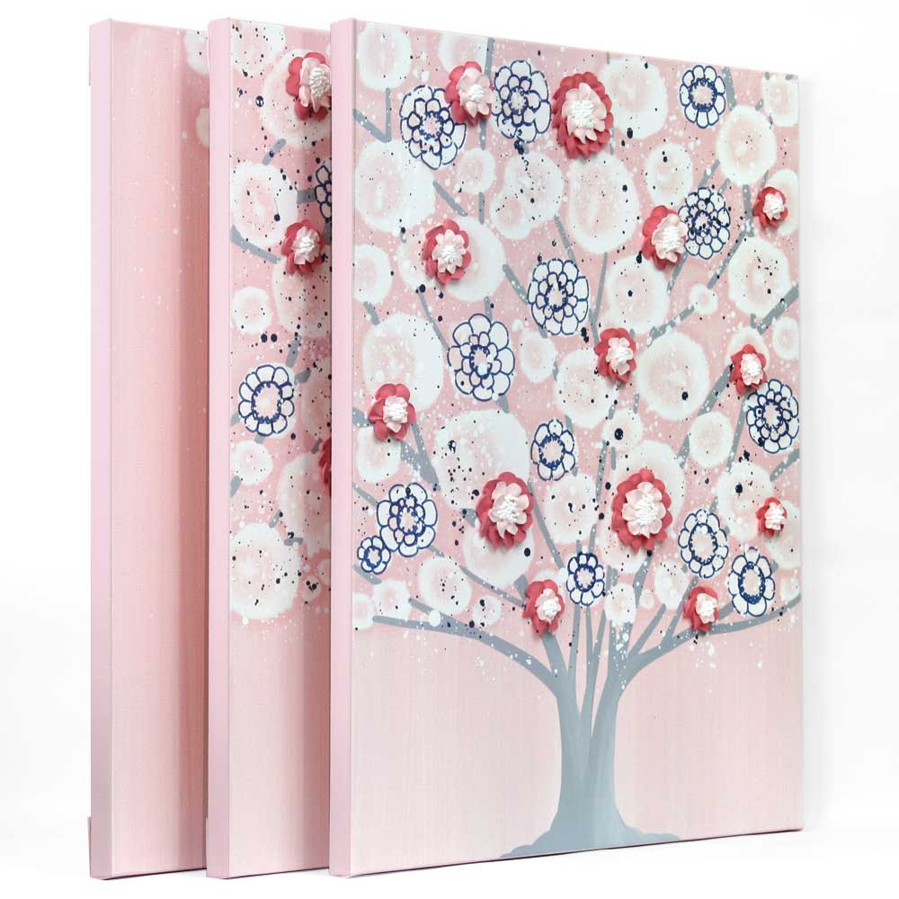 Side view of nursery art pink and indigo spring blossom tree
