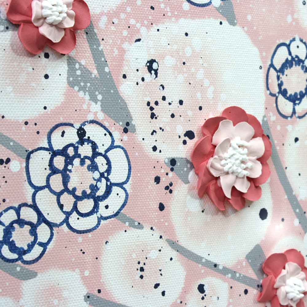 Details of nursery art pink and indigo spring blossom tree