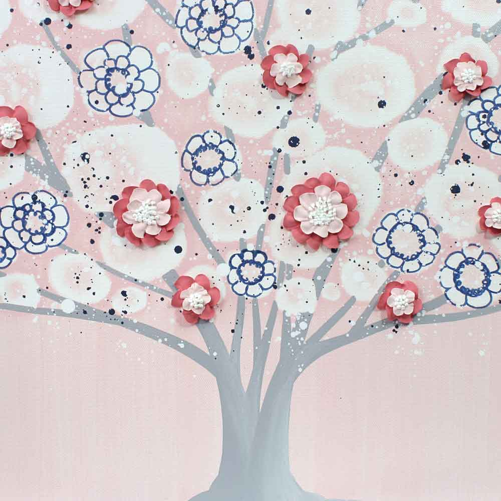 Center view of nursery art pink and indigo spring blossom tree