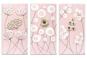 Three Nursery Flower Paintings on Canvas in Pink and Brown