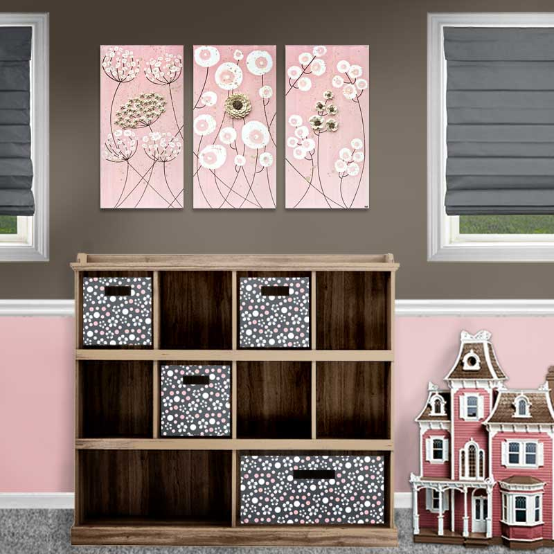 Setting view of nursery art pink and brown flowers