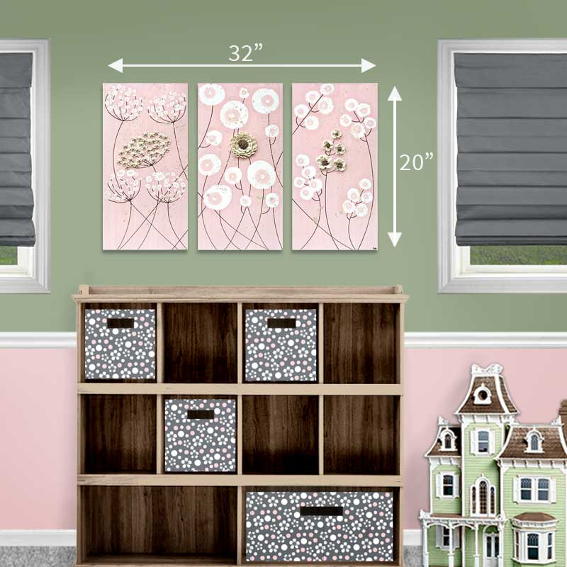 Size guide for nursery art pink and khaki flowers