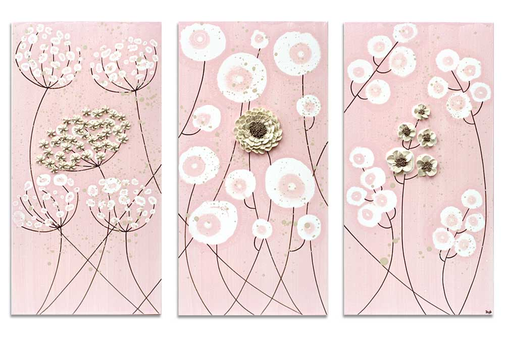 Nursery art pink and khaki flowers