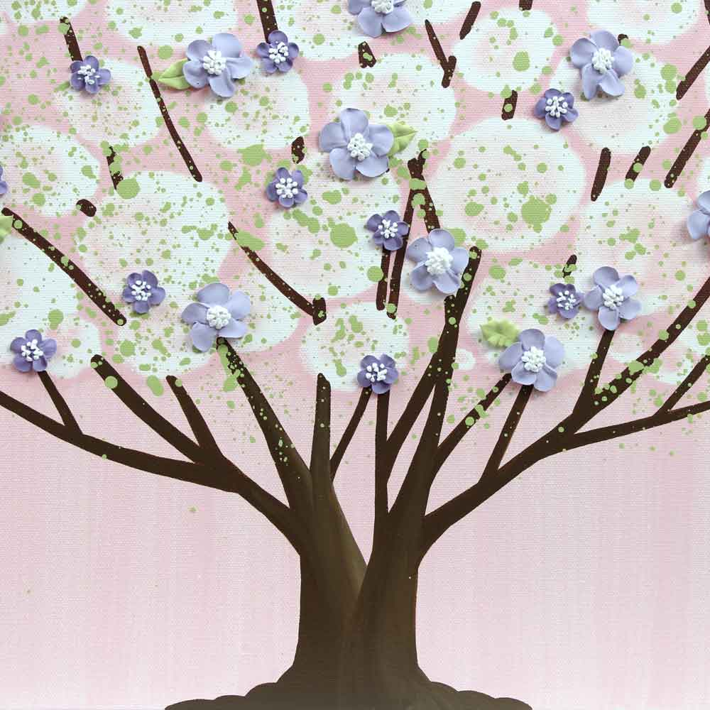 Center view of nursery art pink and purple tree