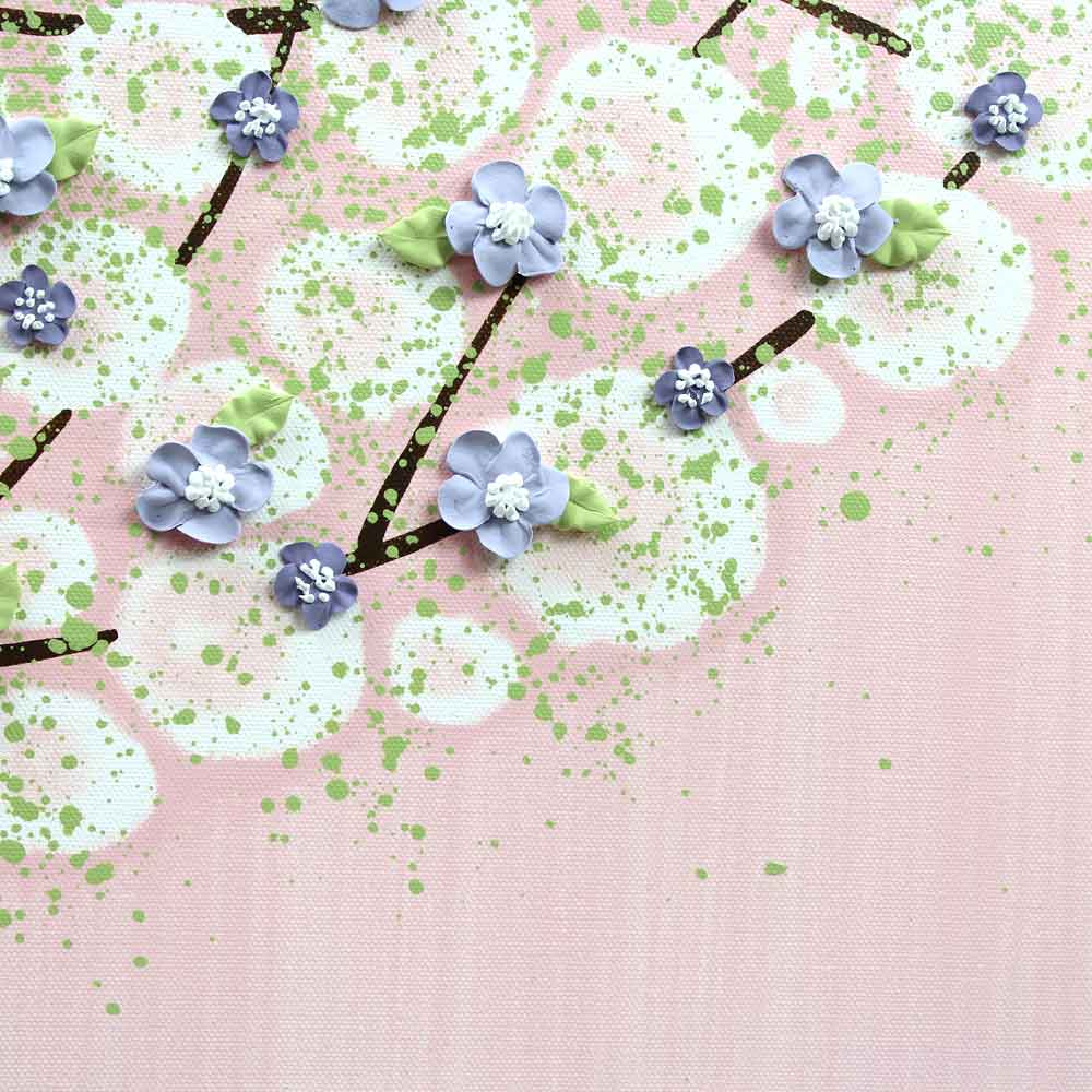 Close up of nursery art pink and purple tree