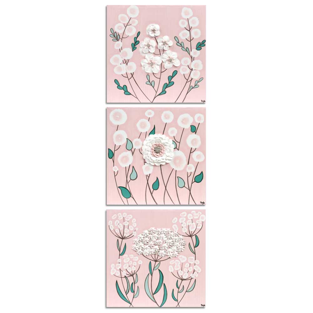 Vertical layout of nursery art pink and teal flowers