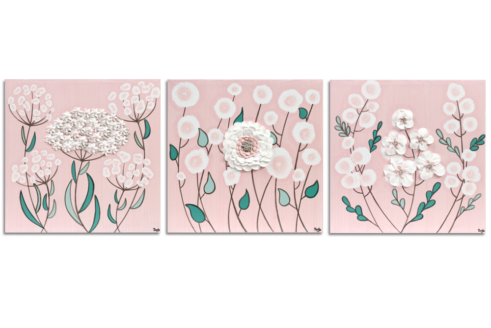 Nursery art pink and teal spring tree