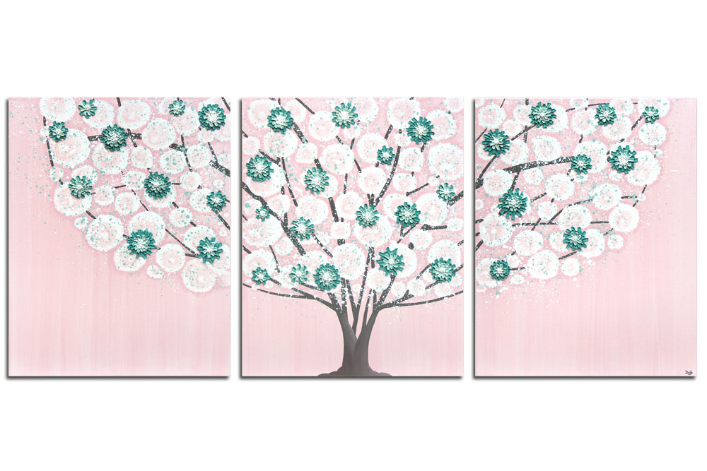 Nursery art pink and teal spring tree