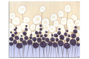 Nursery art purple flower meadow