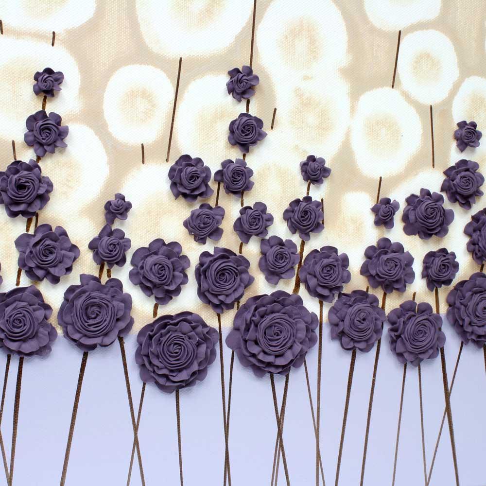 Center view of nursery art purple flower meadow