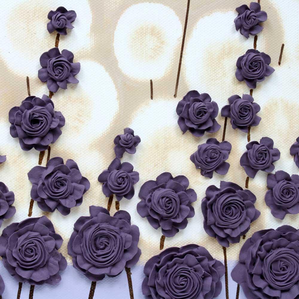 Close up of nursery art purple flower meadow