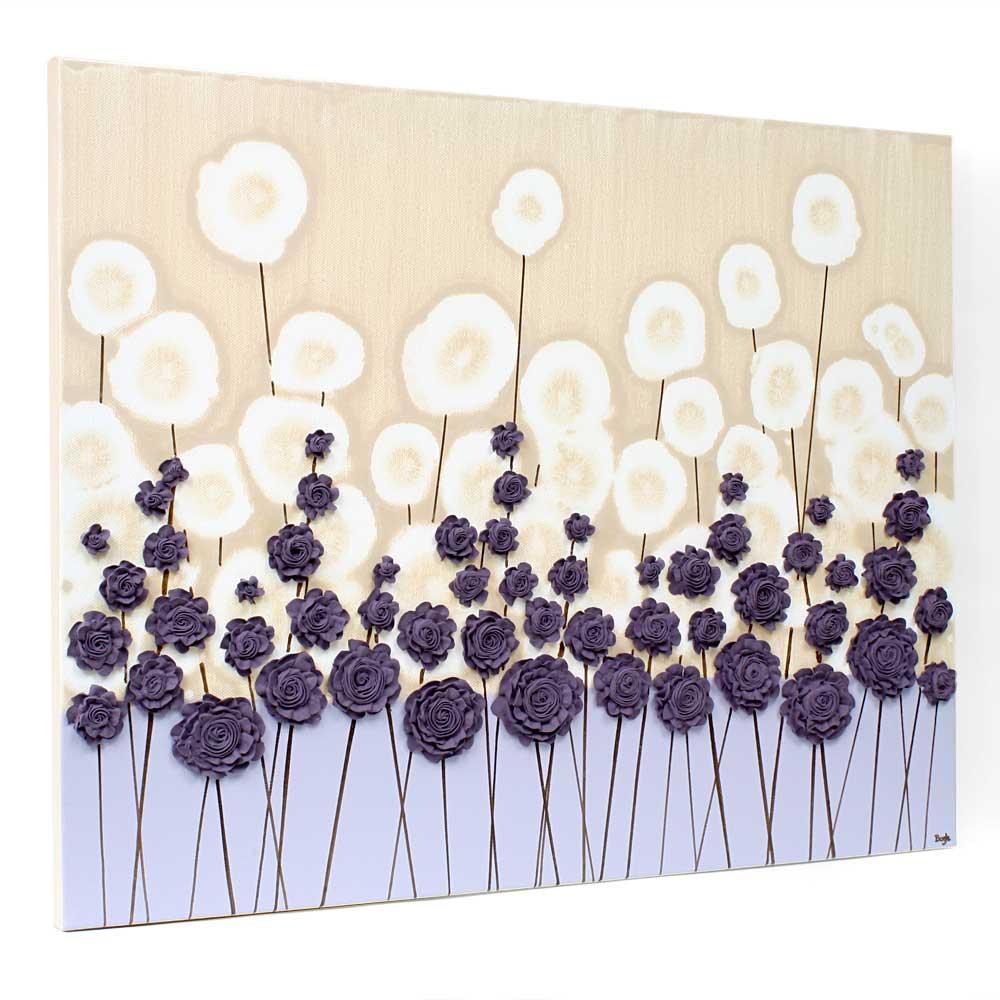 Side view of nursery art purple flower meadow