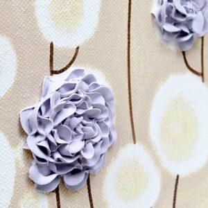 Canvas Art Textured Roses in Purple Khaki – Small