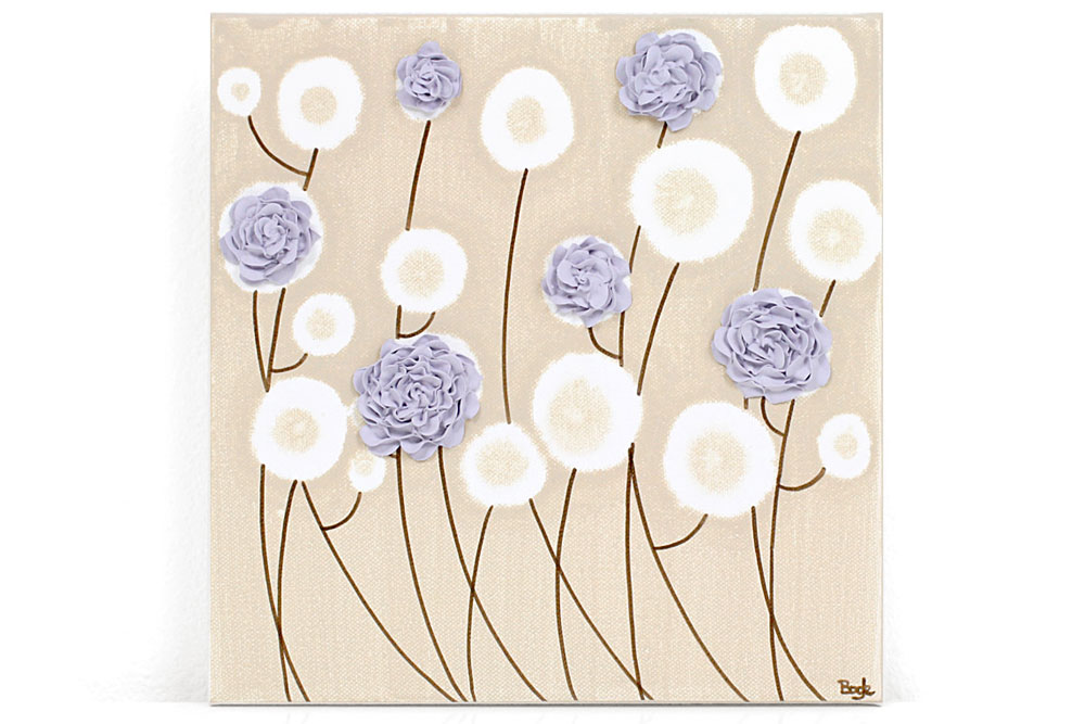Nursery art purple roses