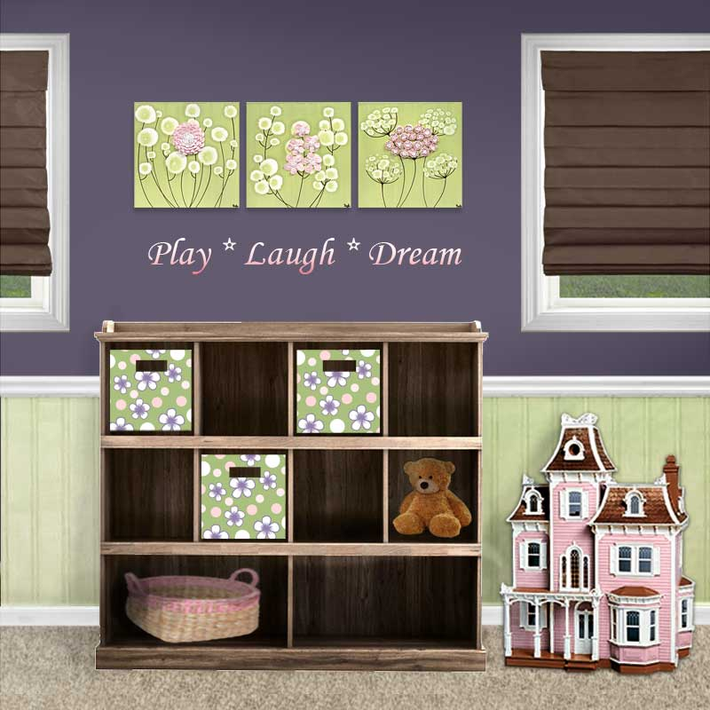 Setting view of nursery art spring flowers set of three