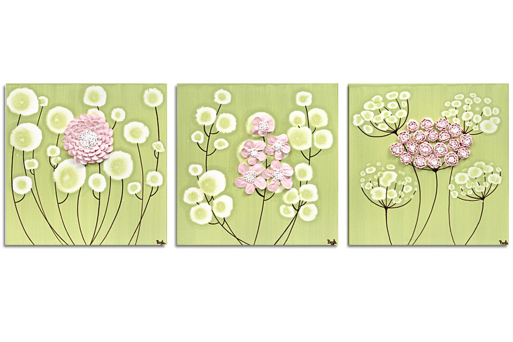 Nursery art spring flowers set of three