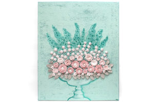 Nursery art spring peony and rose