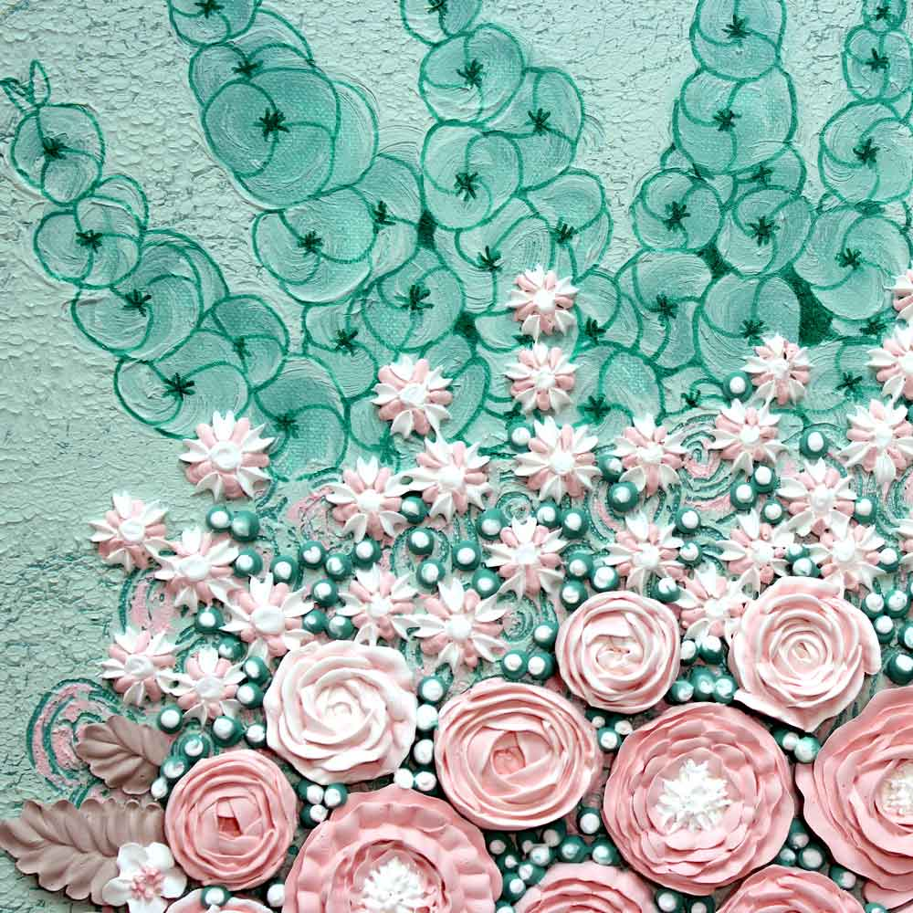 Details of nursery art spring peony and rose