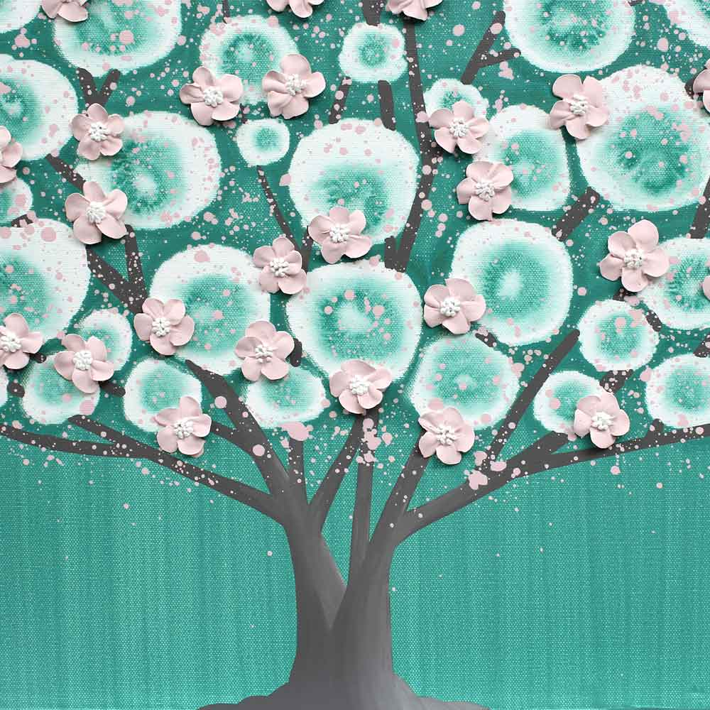 Center view of nursery art teal and pink flowering tree