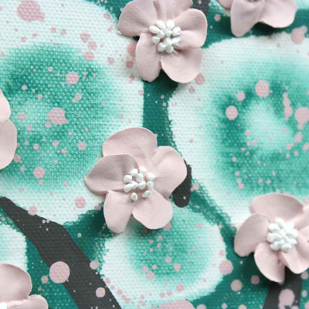 Details on nursery art teal and pink flowering tree