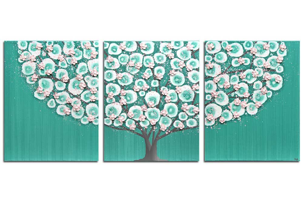 Nursery art teal and pink flowering tree