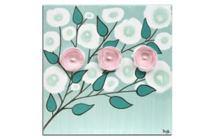 Nursery art of teal and pink blossoms