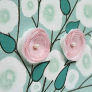 Flower Canvas Painting for Teal and Pink Nursery – Small