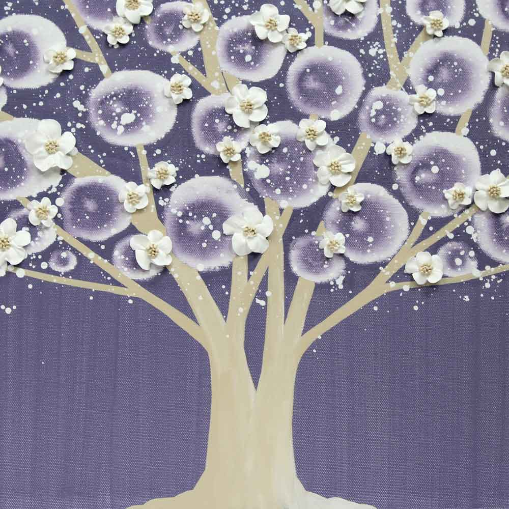 Center view of nursery art violet and khaki apple blossom tree