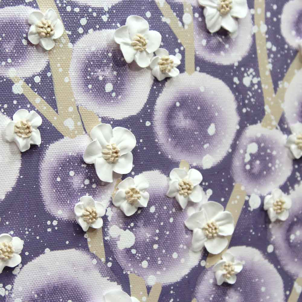 Details on nursery art violet and khaki apple blossom tree
