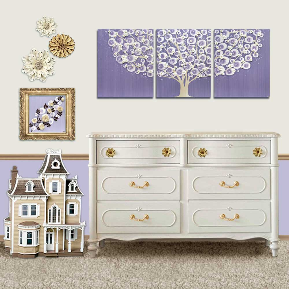 Setting view of nursery art violet and khaki tree