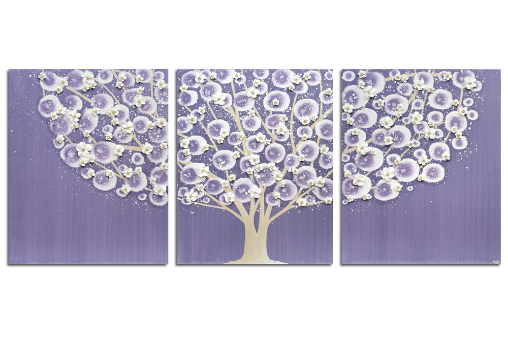 Nursery art violet and khaki apple blossom tree