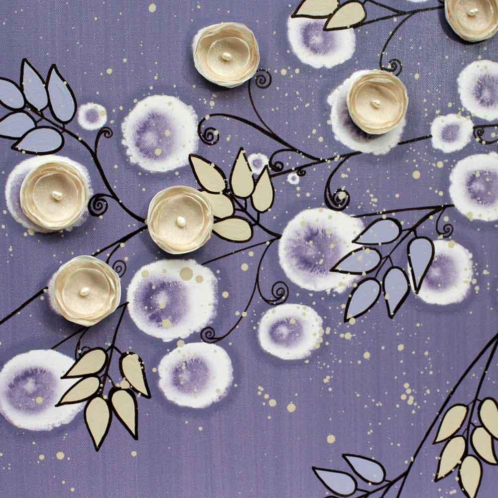 Center view of nursery art violet and khaki climbing rose