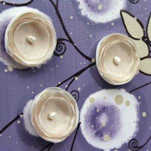 Purple Nursery Wall Art Canvas Painting of Flowers – Large