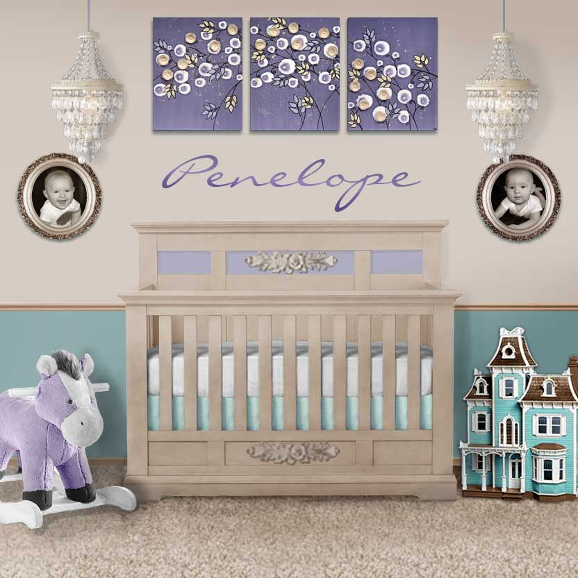 Setting view of nursery art violet and khaki climbing rose