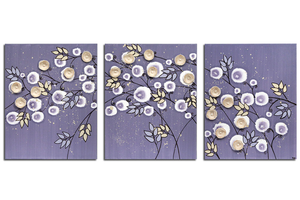 Nursery art violet and khaki climbing rose
