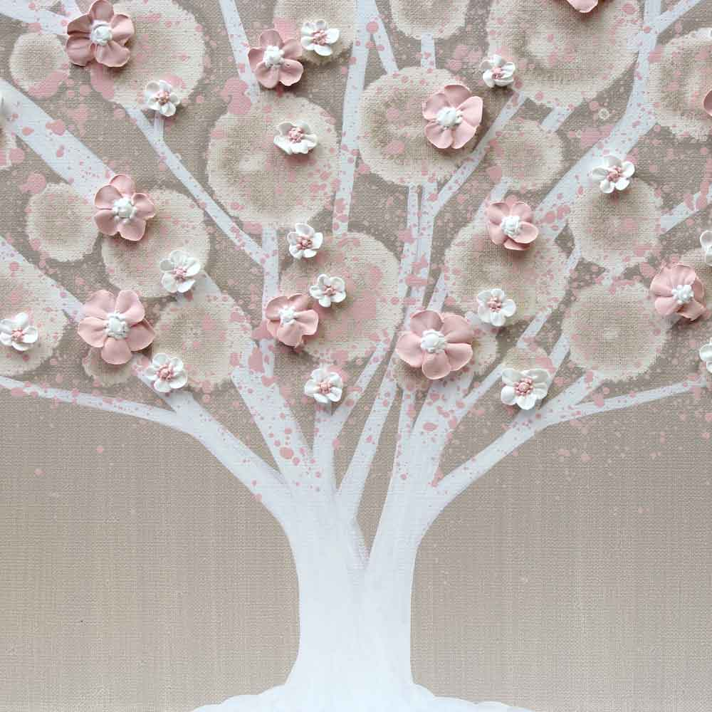 Center view of nursery art of warm gray and pink tree